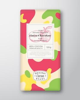 Forme astratte dell'etichetta del cioccolato alla mela layout di progettazione dell'imballaggio di vettore