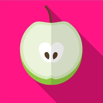 Simbolo del segno di vettore isolato dell'illustrazione piana dell'icona della mela
