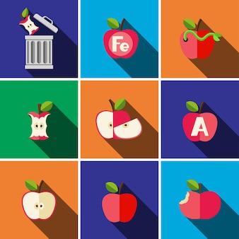 Simbolo del segno di vettore isolato dell'illustrazione stabilita dell'icona piana della mela
