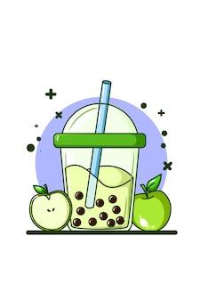 Una bevanda al gusto di mela con due mele illustrazione