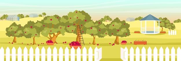 Illustrazione di colore piatto giardino di mele. paesaggio del fumetto 2d frutteto vuoto con gazebo e serre sullo sfondo. raccolta di frutta stagionale. campo serale con meli e cesti
