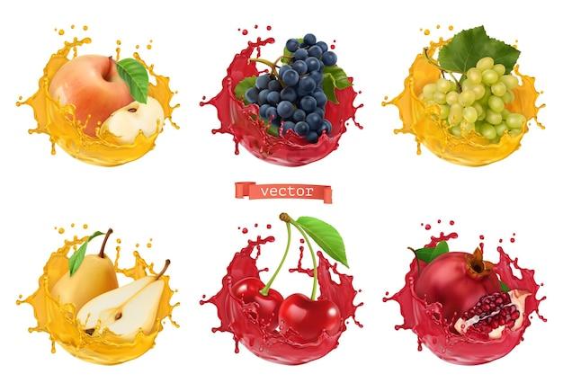 Succo di mela, uva, pera, ciliegia, melograno. frutta fresca e spruzzi, set di icone vettoriali 3d realistico
