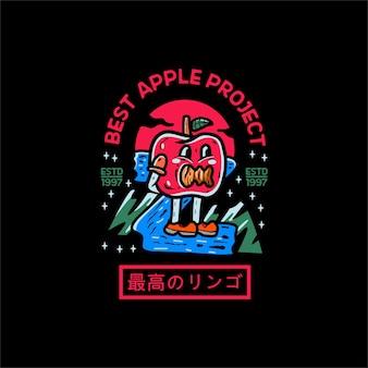 Stile giapponese del carattere dell'illustrazione di apple