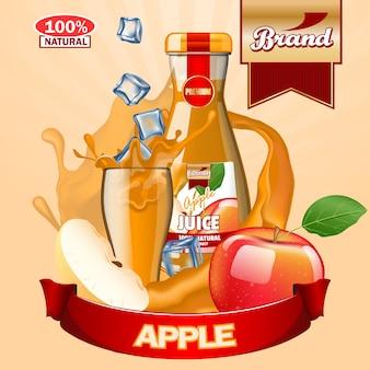 Modello di annunci di succo di mela.
