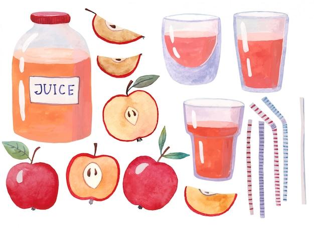Succo di mela in un bicchiere circondato da mele rosse e foglie verdi. isolato Vettore Premium