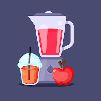 Succo di mela con frullatore icona tazza di plastica
