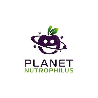 Nutrizione di mele con modello di progettazione del logo del pianeta
