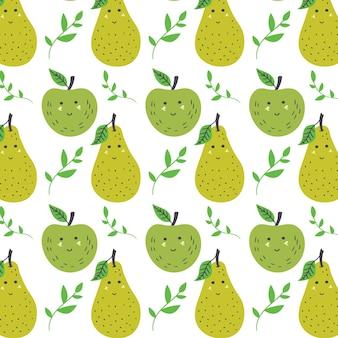Modello di mela e pera. fondo di vettore giallo verde senza cuciture della frutta
