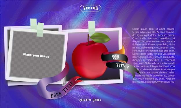 Simboli cornice mela e foto con sfondi viola