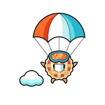Il cartone animato della mascotte della torta di mele sta facendo paracadutismo con un gesto felice, un design in stile carino per maglietta, adesivo, elemento logo