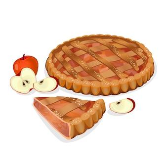 Torta di mele con frutta, fetta tagliata isolata. gustosa torta fatta in casa tradizionale. elementi apple nelle vicinanze. prodotti da forno freschi. l'ingrediente principale del ripieno è la mela. cucina dolce al forno. illustrazione