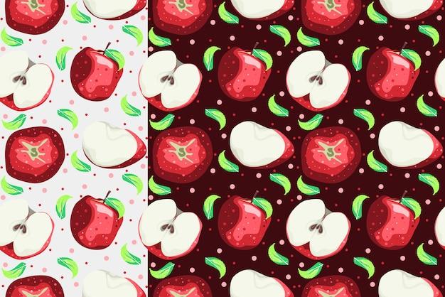 Modello senza cuciture di mela con disegno vettoriale di sfondo chiaro e scuro