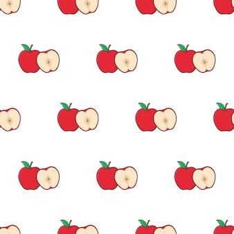 Fetta di mela seamless su uno sfondo bianco. illustrazione di vettore di tema di mela