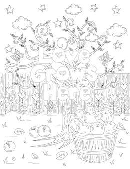 Albero di mele accanto a un secchio pieno di frutti foglie nuvole stelle disegno alberello incolore