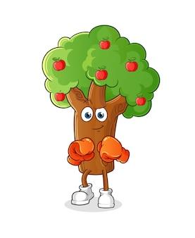 Carattere del pugile dell'albero di mele. mascotte dei cartoni animati