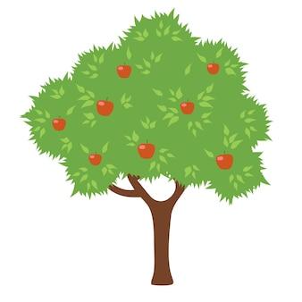 Albero di mele. stile cartone animato.