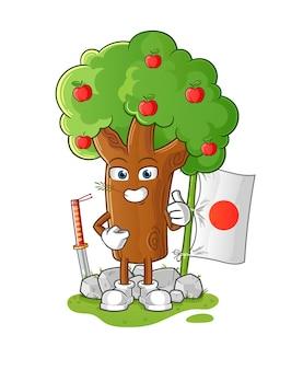 Disegno dell'illustrazione giapponese dell'albero di mele