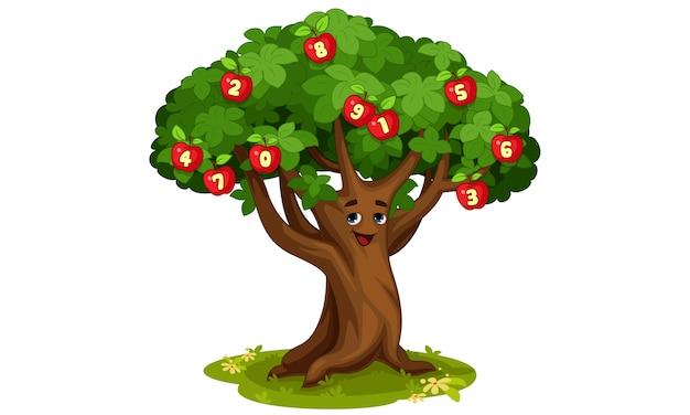 Illustrazione del fumetto di albero di mele di numeri