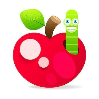 Mela con verme su sfondo bianco illustrazione vettoriale per il tuo design Vettore Premium