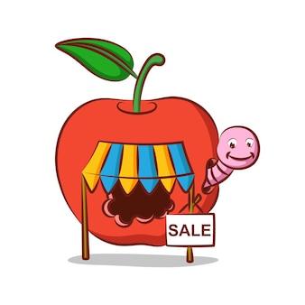 Apple worm store con vendita nella sua casa delle mele