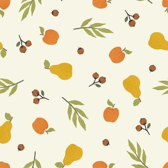 Mele, pere e noci. reticolo senza giunte di autunno. illustrazione vettoriale