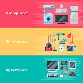 Elettrodomestici design piatto illustrazione importante