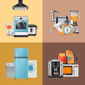 Elettrodomestici realistici. elettrodomestici per la casa frigorifero lavatrice microonde frullatore cappa aspirante collezione di fornelli a gas