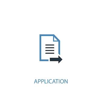 Concetto di applicazione 2 icona colorata. illustrazione semplice dell'elemento blu. disegno di simbolo del concetto di applicazione. può essere utilizzato per ui/ux mobile e web