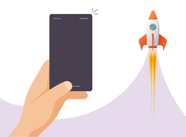 Lo sviluppo dell'applicazione aumenta il lancio con lo smartphone vuoto vuoto del telefono cellulare