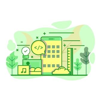 Illustrazione moderna di colore verde piano di sviluppo di applicazioni