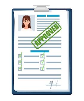 Documenti di domanda con timbro approvato. domanda accettata o curriculum. modulo cartaceo con caselle di controllo e foto. illustrazione su sfondo bianco
