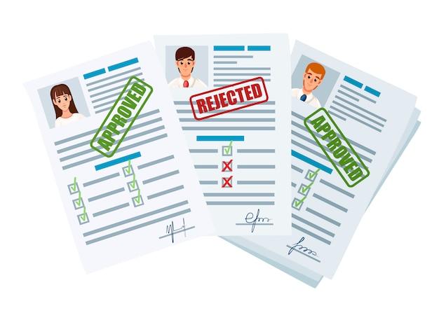 Documenti di domanda con timbro rifiutato e approvato. rifiutato e domanda di approvazione o curriculum. modulo cartaceo con caselle di controllo e foto. illustrazione su sfondo bianco