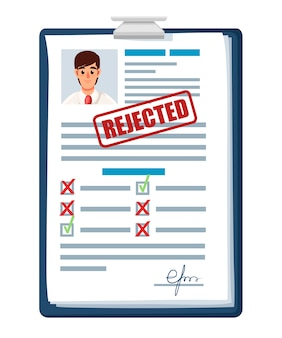 Documenti di domanda con timbro rifiutato. domanda rifiutata o ripresa. modulo cartaceo con caselle di controllo e foto. illustrazione su sfondo bianco Vettore Premium