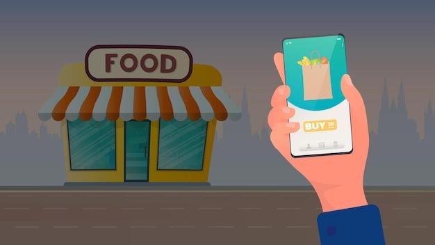 Applicazione per lo shopping online di alimenti freschi. negozio di alimentari. concetto di acquisto online. vettore.
