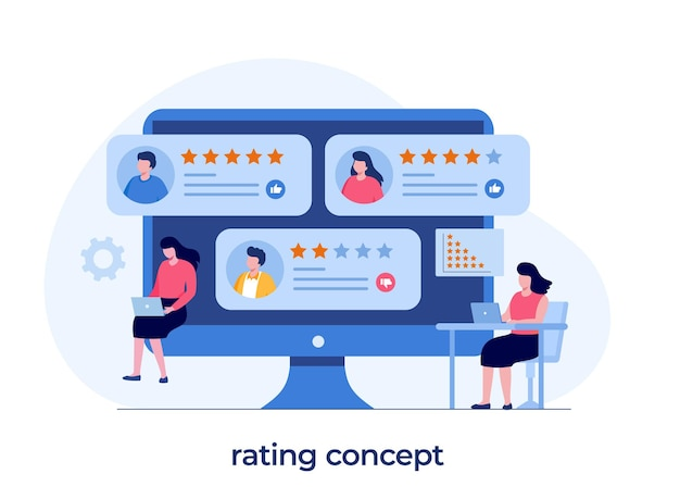 Concetto di valutazione dell'applicazione, tecnologia, soddisfazione del cliente, revisione, ui e ux, social media, vettore di illustrazione piatta