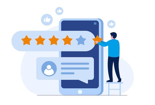 Valutazione dell'applicazione. recensioni di clienti e utenti 5 stelle. sistema di ranking del sito web, feedback positivo, valutazione dei voti. illustrazione vettoriale piatta
