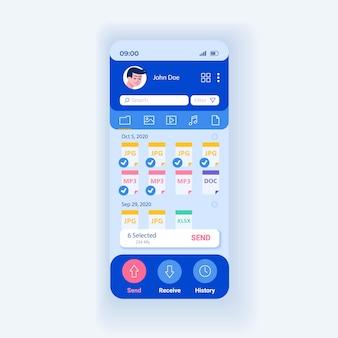 Applicazione per la condivisione di file e dati modello vettoriale interfaccia smartphone. layout di progettazione della pagina dell'app mobile. schermata di download e caricamento delle informazioni. interfaccia utente piatta per l'applicazione. display del telefono