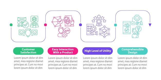 Modello di infografica vettoriale di utilizzo dell'applicazione. elementi di design del profilo di presentazione di alto livello di utilità. visualizzazione dei dati con 4 passaggi. grafico delle informazioni sulla sequenza temporale del processo. layout del flusso di lavoro con icone di linea