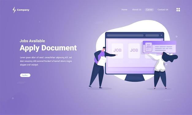 Applica la domanda di documento per trovare un nuovo lavoro sul concetto di pagina di destinazione