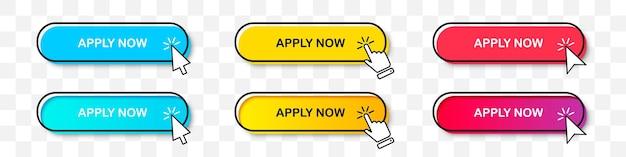Applica ora la raccolta di pulsanti con il puntatore del cursore in due stili. design piatto e sfumatura con ombra. set di pulsanti web digitali su uno sfondo trasparente
