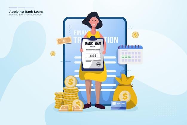Applicazione dell'illustrazione del prestito bancario