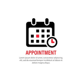 Icona di appuntamento. calendario con data specifica. concetto di affari. promemoria, pianificatore, organizzatore. vettore su sfondo bianco isolato. env 10.