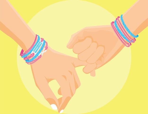 Appuntamenti tra amici. sarà sempre con i migliori amici per sempre. illustrazione di vettore piatto dell'insegna di giorno di amicizia.
