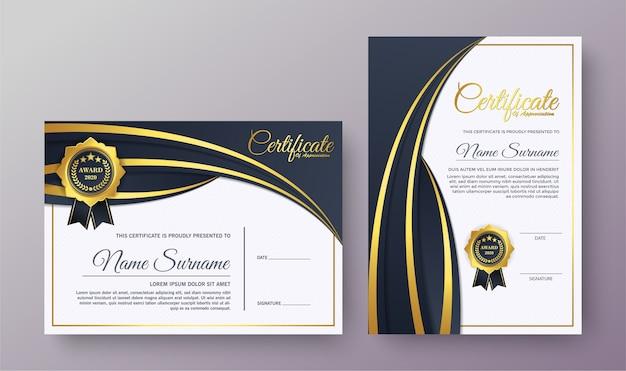 Certificato di apprezzamento miglior set diploma premio