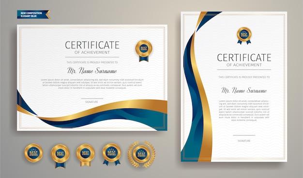 Certificato di apprezzamento in colore blu e oro con badge oro e modello di bordo