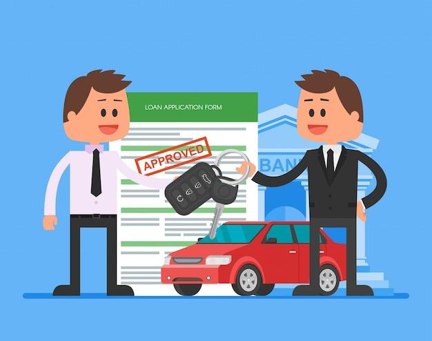 Illustrazione di prestito auto approvato. l'acquisto di concept car. il rivenditore consegna le chiavi dell'auto al cliente felice.