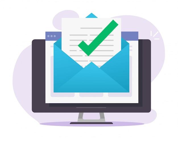 Avviso di segno di spunta messaggio di posta elettronica approvato nel documento in linea sul computer desktop Vettore Premium