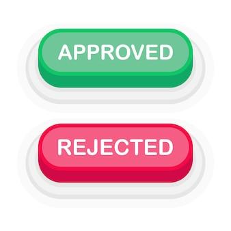 Pulsante 3d verde o rosso approvato o rifiutato in stile piano isolato su priorità bassa bianca. illustrazione vettoriale.