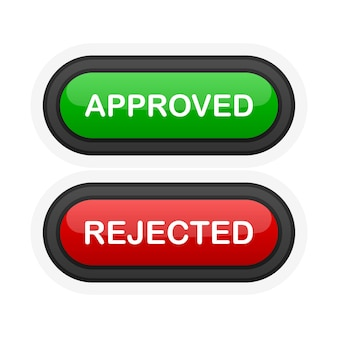 Pulsante 3d realistico verde o rosso approvato o rifiutato isolato su priorità bassa bianca. cliccato a mano. illustrazione vettoriale.