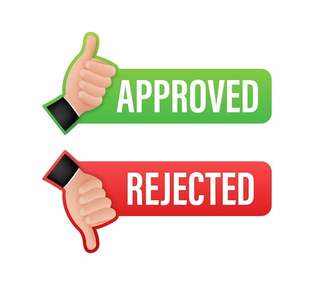 Illustrazione dell'icona dell'autoadesivo dell'etichetta approvata e rifiutata